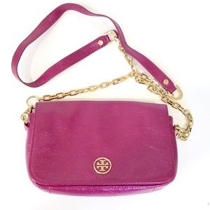 Tory Burch Magenta Crossbody with Gold Chain Strap
